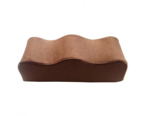 Coussin repose-jambes ondulé en velours brun